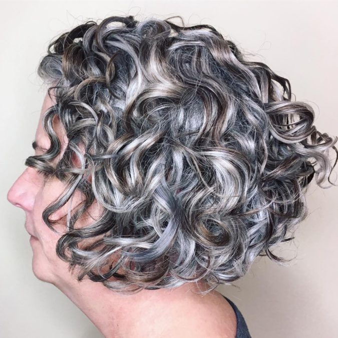 Curly-Short-Bob-1-675x675 15 Beautiful Gray Hairstyles that Suit All Women Over 50