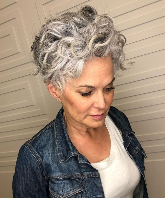 Curly-Short-Bob-675x808 15 Beautiful Gray Hairstyles that Suit All Women Over 50
