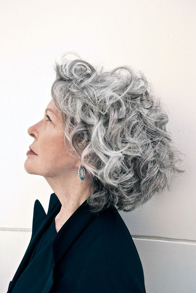 Curly-Short-Bob. 15 Beautiful Gray Hairstyles that Suit All Women Over 50