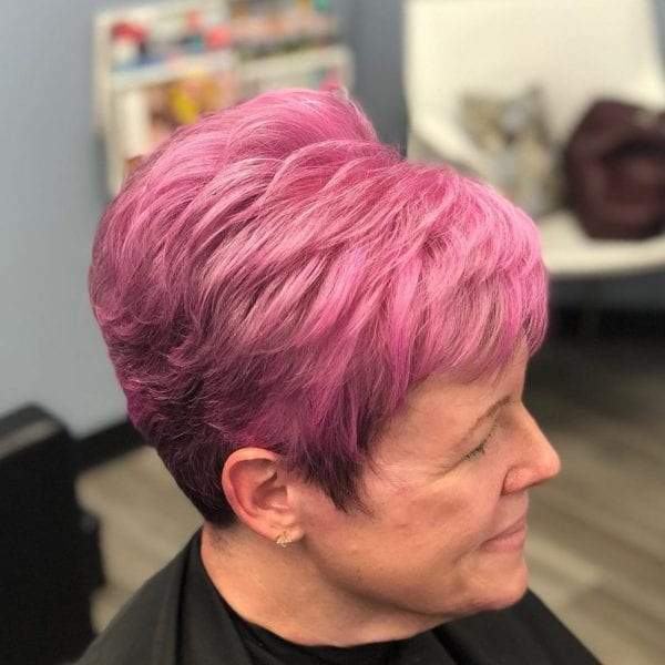 Pink-Ombre. Best 12 Hairstyles for Women Over 60 to Look Younger