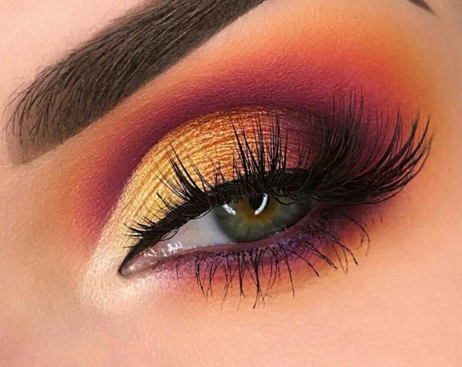 Sunset-eye-colorful-makeup-2-675x536 Best 10 Colorful Face Makeup Looks to Try in 2021