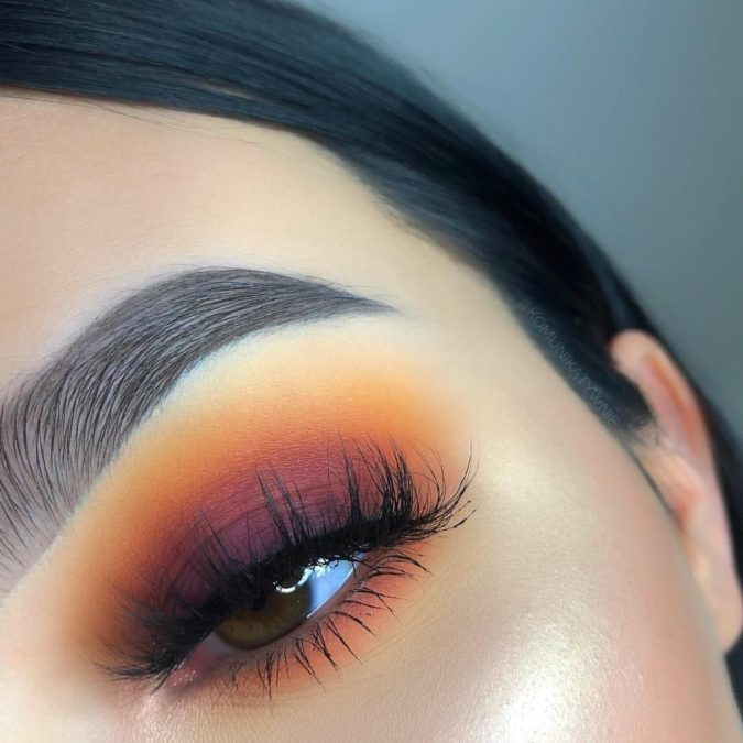 Sunset-eye-makeup-675x675 Best 10 Colorful Face Makeup Looks to Try in 2021