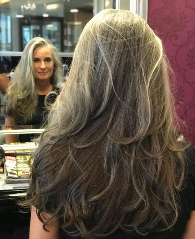 The-Gray-and-layered-hair..-675x825 15 Beautiful Gray Hairstyles that Suit All Women Over 50