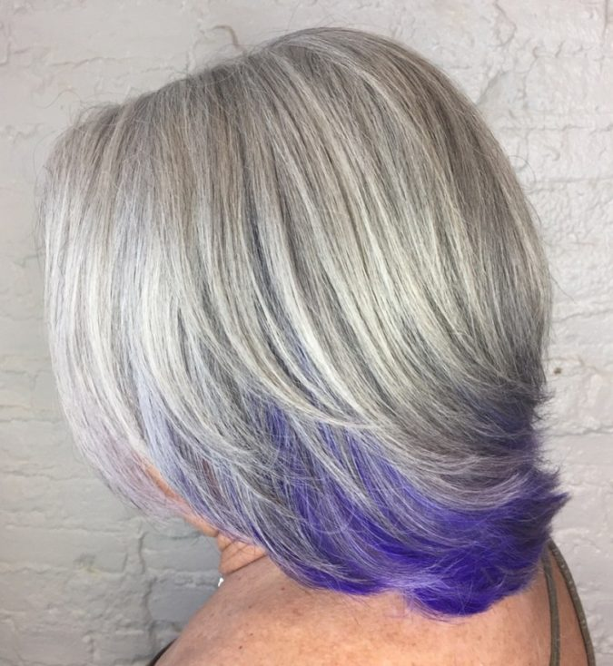 The-Gray-purple-675x734 15 Beautiful Gray Hairstyles that Suit All Women Over 50