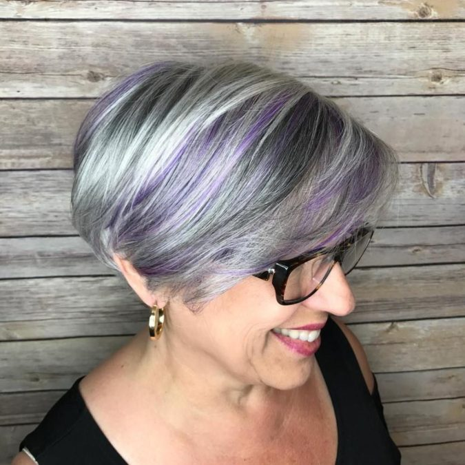 The-Gray-purple-and-blue-bob-1-675x675 15 Beautiful Gray Hairstyles that Suit All Women Over 50