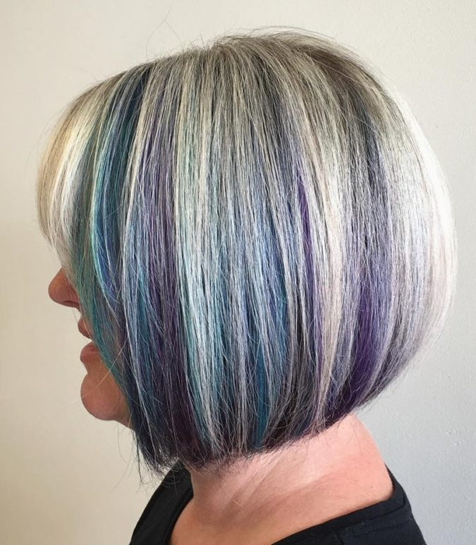 The-Gray-purple-and-blue-bob-675x772 15 Beautiful Gray Hairstyles that Suit All Women Over 50