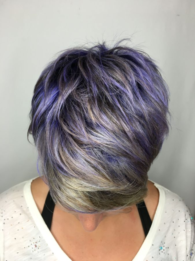 The-Gray-purple-and-blue-bob.-675x900 15 Beautiful Gray Hairstyles that Suit All Women Over 50