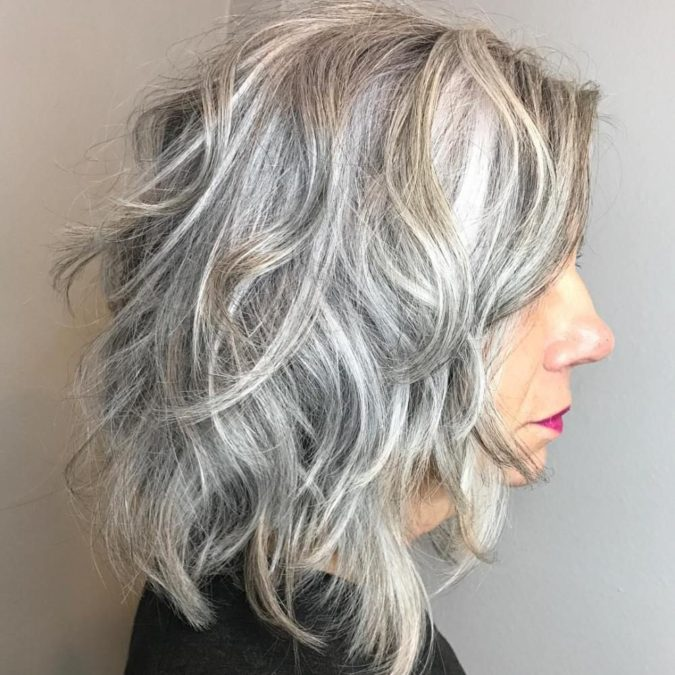 The-Shaggy-gray-wavy-lob.-675x675 15 Beautiful Gray Hairstyles that Suit All Women Over 50