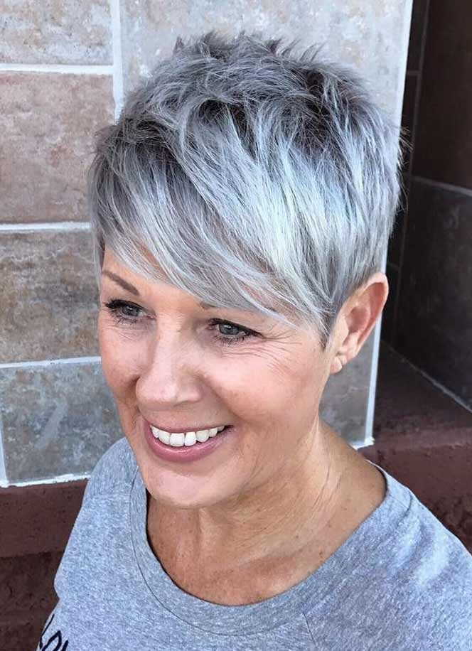 The-neat-feathered-gray-hair-pixie.-1 15 Beautiful Gray Hairstyles that Suit All Women Over 50