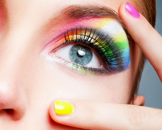 The-rainbow-eye-makeup-1-675x540 Best 10 Colorful Face Makeup Looks to Try in 2021