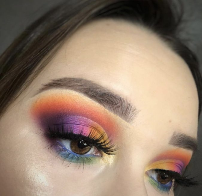 The-rainbow-eye-makeup-3-675x654 Best 10 Colorful Face Makeup Looks to Try in 2021