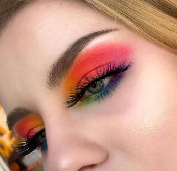 The-rainbow-eye-makeup.-675x654 Best 10 Colorful Face Makeup Looks to Try in 2021