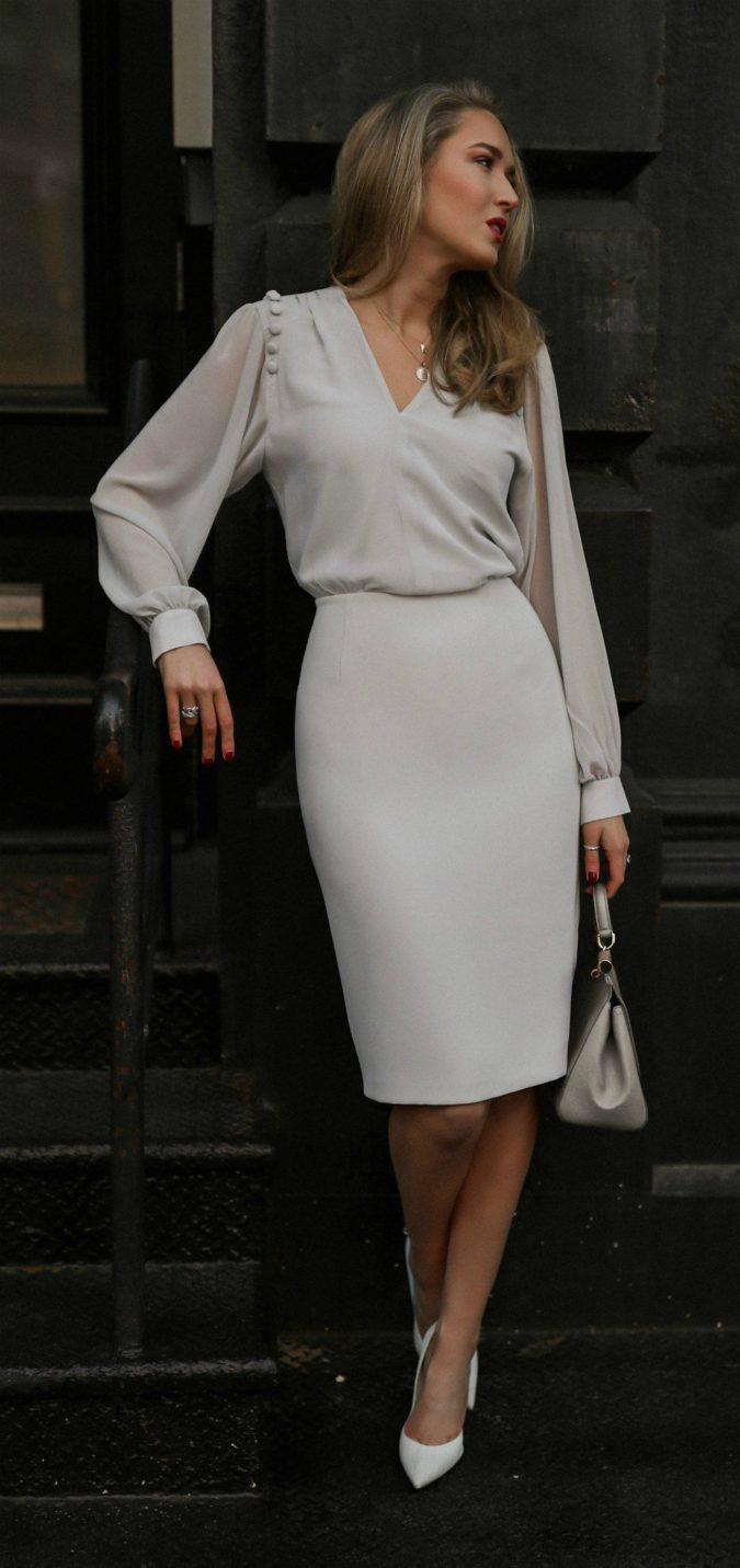 The-Grey-Dress-1-675x1431 +45 Stylish Women's Outfits for Job Interviews for 2021