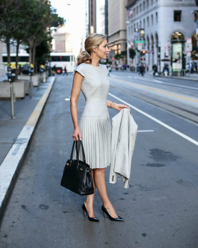 grey-dress-675x844 +45 Stylish Women's Outfits for Job Interviews for 2021