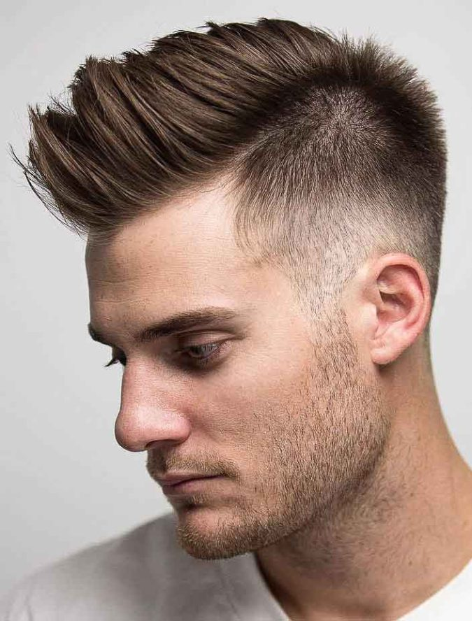 mens-faux-hawk-faded-675x888 Top 10 Hottest Hairstyles To Suit Men With Round Faces