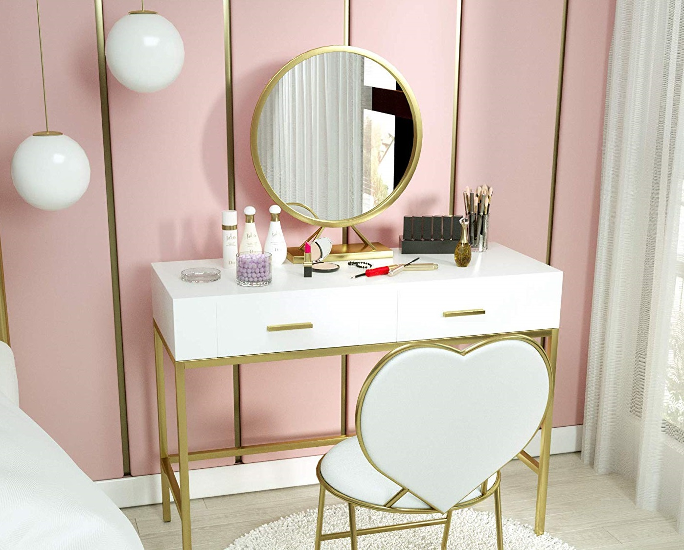 A table set with round regular mirror 1