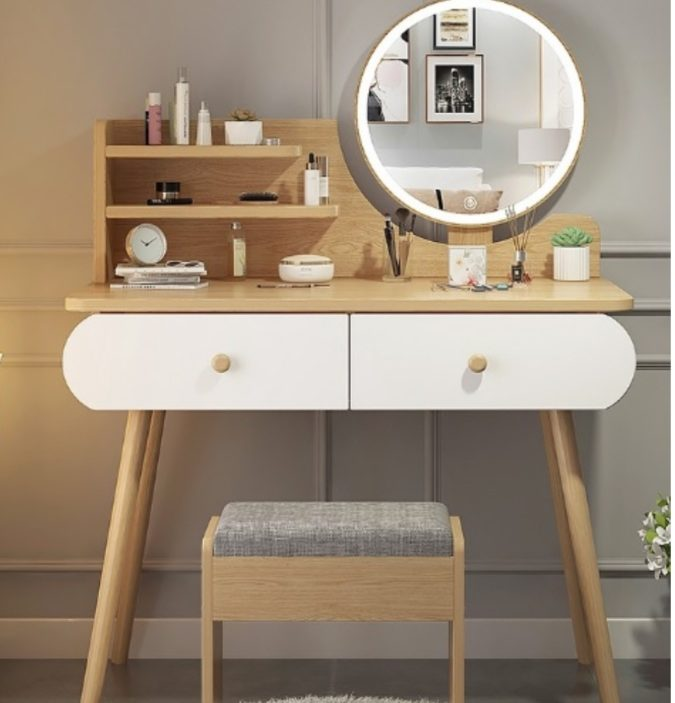 A-table-set-with-round-regular-mirror.-1-675x703 Hottest 50+ Stylish Makeup Vanity Ideas