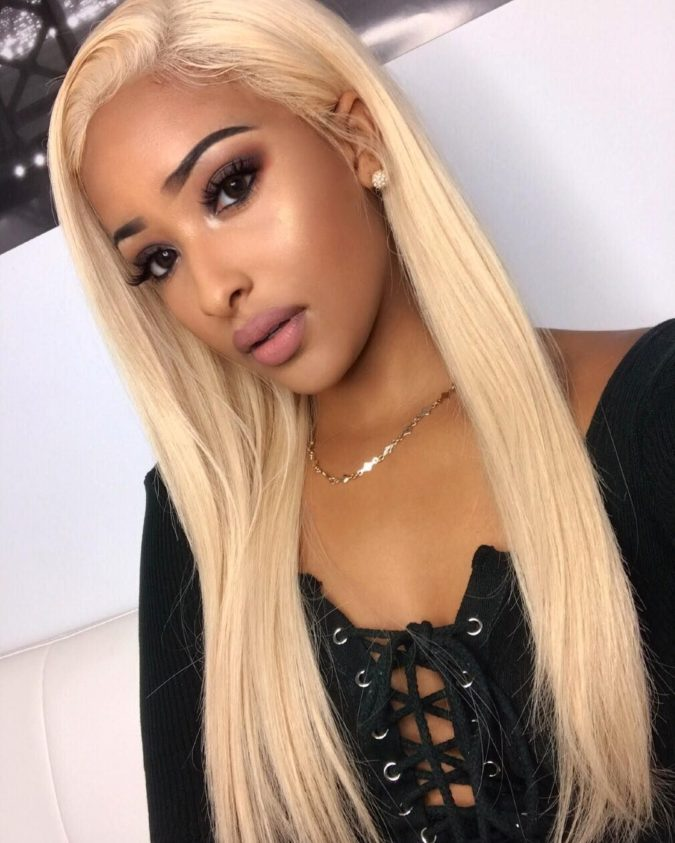 Bleached-Yellow-Blonde-6-675x843 +35 Hottest Hair Color Trends for Dark-Skinned Women