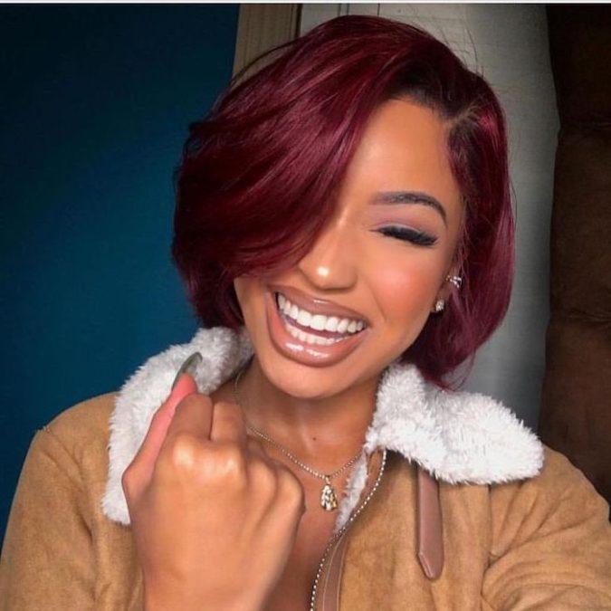 Burgundy-7-675x675 +35 Hottest Hair Color Trends for Dark-Skinned Women