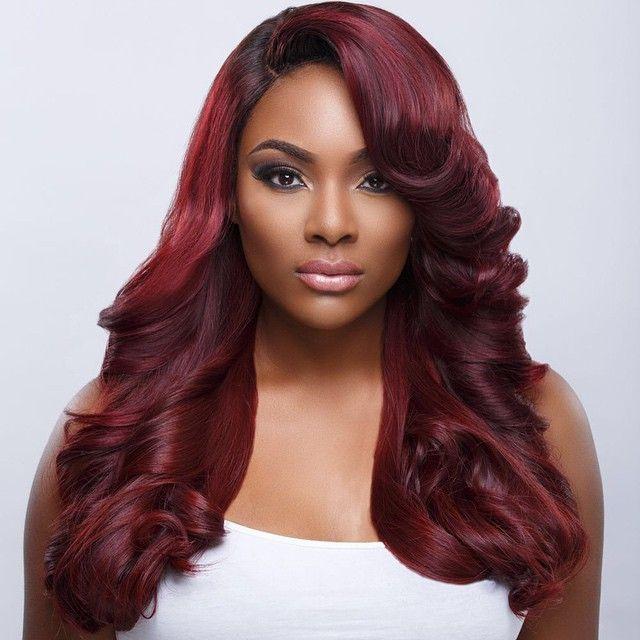 Burgundy.-1 +35 Hottest Hair Color Trends for Dark-Skinned Women