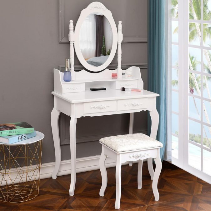 Conventional-vanity-table-675x675 Hottest 50+ Stylish Makeup Vanity Ideas