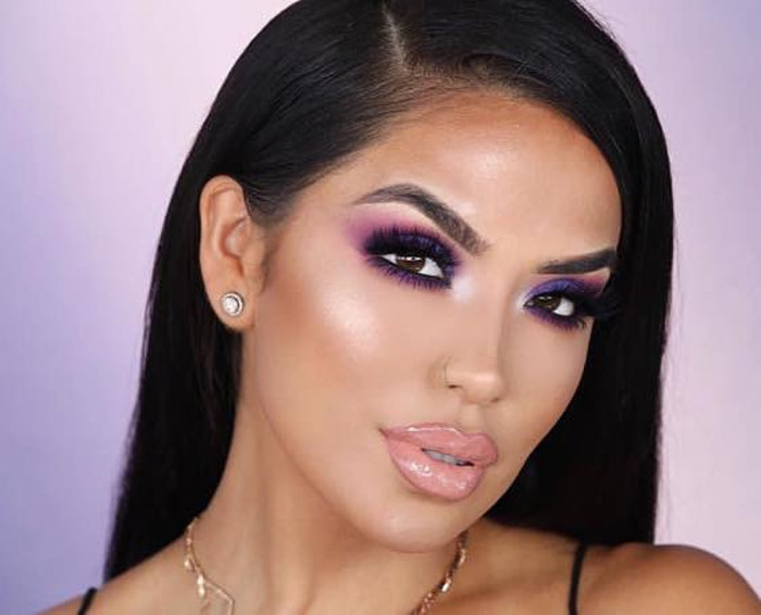 Dark-outlined-Purple-Color-Smokey-Eyes.-1 60+ Hottest Smokey Eye Makeup Looks in 2020