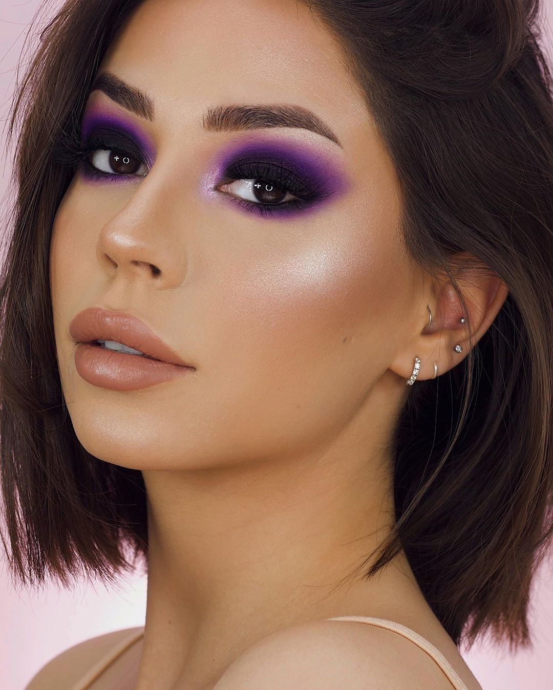 Dark-outlined-Purple-Color-Smokey-Eyes.. 60+ Hottest Smokey Eye Makeup Looks in 2021