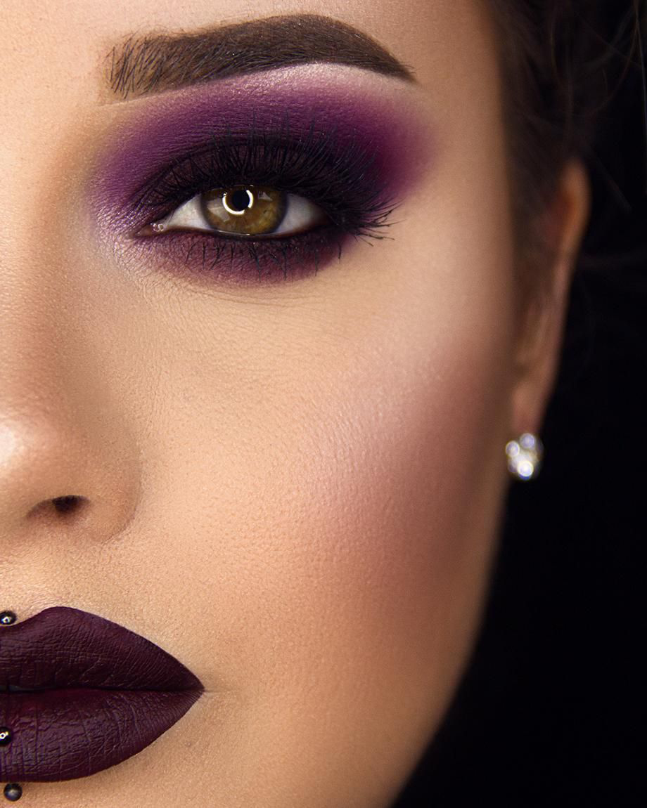 Dark-outlined-Purple-Color-Smokey-Eyes 60+ Hottest Smokey Eye Makeup Looks in 2020