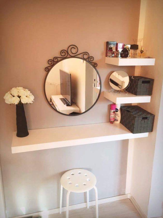 Floating-shelf.-675x900 Hottest 50+ Stylish Makeup Vanity Ideas