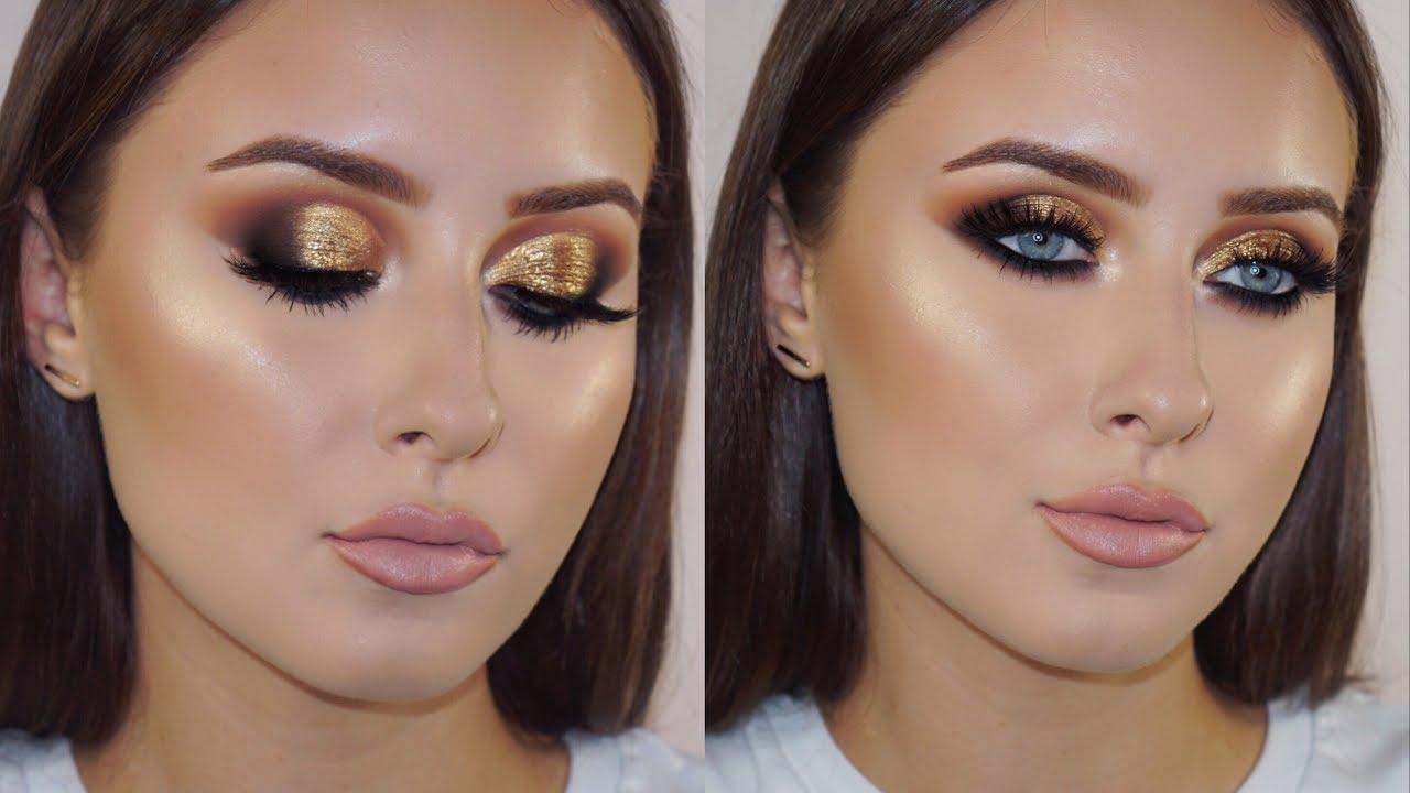 Golden-Smokey-Eye-make-up-2 60+ Hottest Smokey Eye Makeup Looks in 2021
