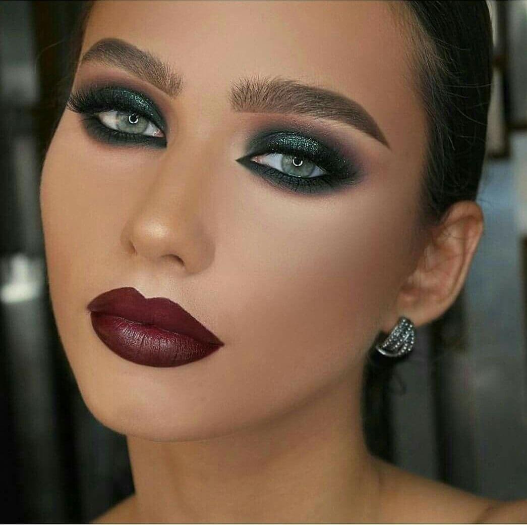 Green-black-smokey-eye. 60+ Hottest Smokey Eye Makeup Looks in 2020