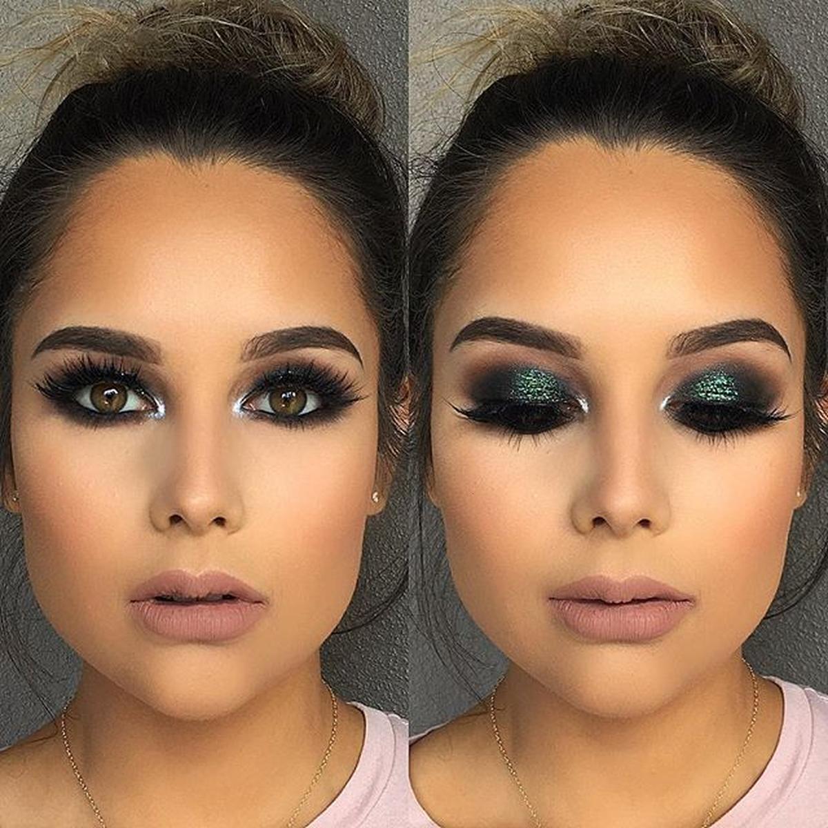Green-black-smokey-eyes 60+ Hottest Smokey Eye Makeup Looks in 2020