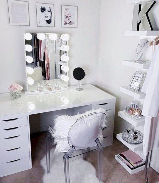 Lighted-mirror-vanity-675x778 Hottest 50+ Stylish Makeup Vanity Ideas
