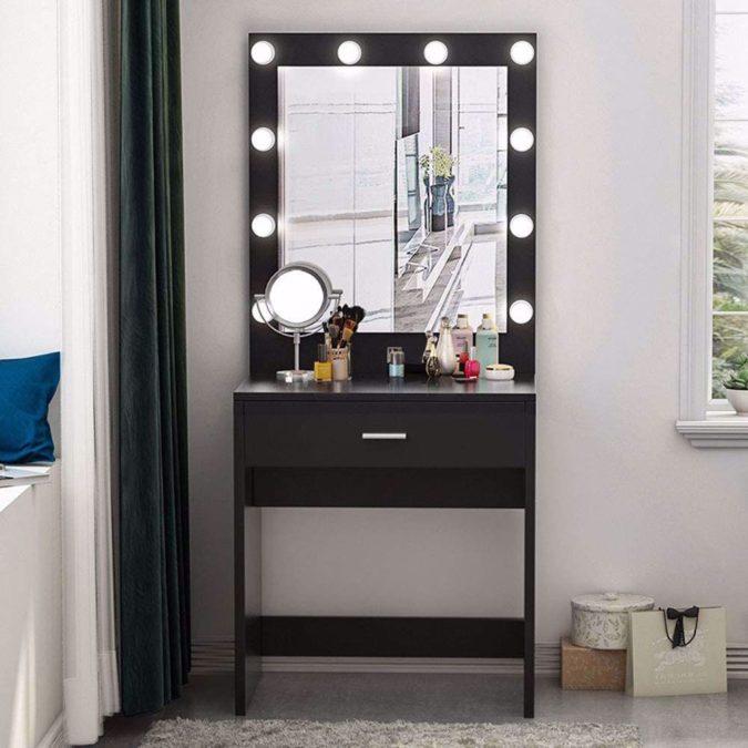 Lighted-mirror-vanity-table-675x675 Hottest 50+ Stylish Makeup Vanity Ideas