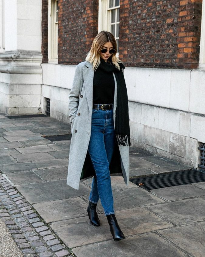 Long-jacket-boots-and-jean.-675x844 120+ Fashion Trends and Looks for College Students in 2020/2021