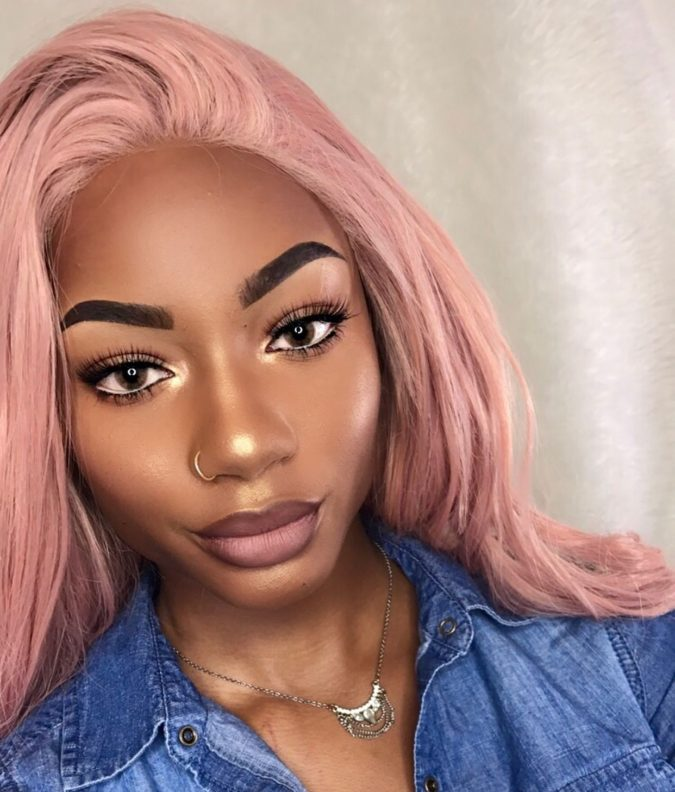 Peachy-Pink.-2-675x792 +35 Hottest Hair Color Trends for Dark-Skinned Women
