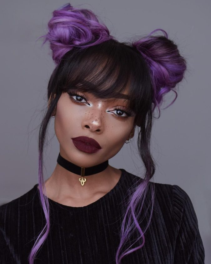 Purple-Highlights.-1-675x844 +35 Hottest Hair Color Trends for Dark-Skinned Women