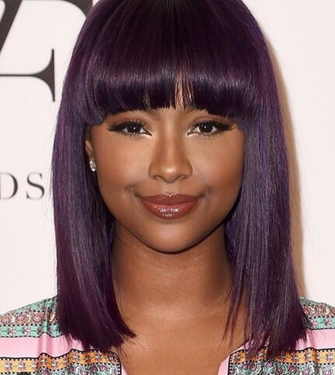 Purple-Highlights..-675x756 +35 Hottest Hair Color Trends for Dark-Skinned Women