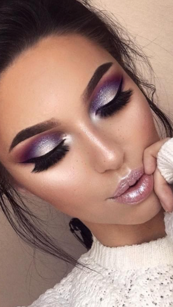 Purple-blended-with-Silver-1-675x1200 60+ Hottest Smokey Eye Makeup Looks in 2020