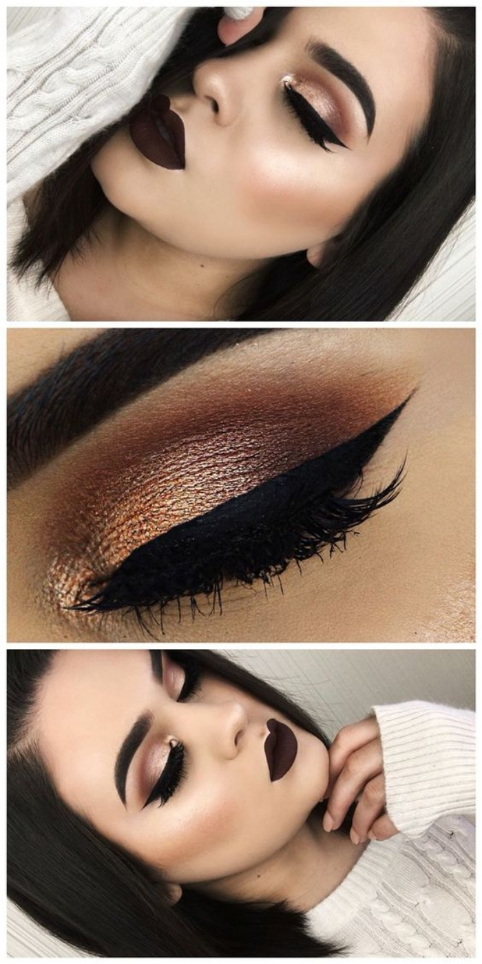 Shimmery-Bronze-With-Thick-Eyeliner 60+ Hottest Smokey Eye Makeup Looks in 2020