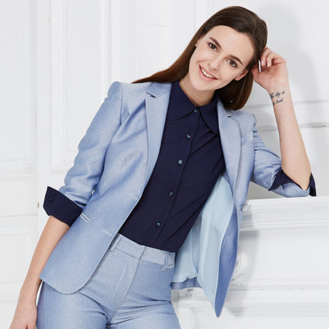 Slim-Fit-Women-Suit-675x675 What Women Should Wear for a Business Meeting [60+ Outfit Ideas]