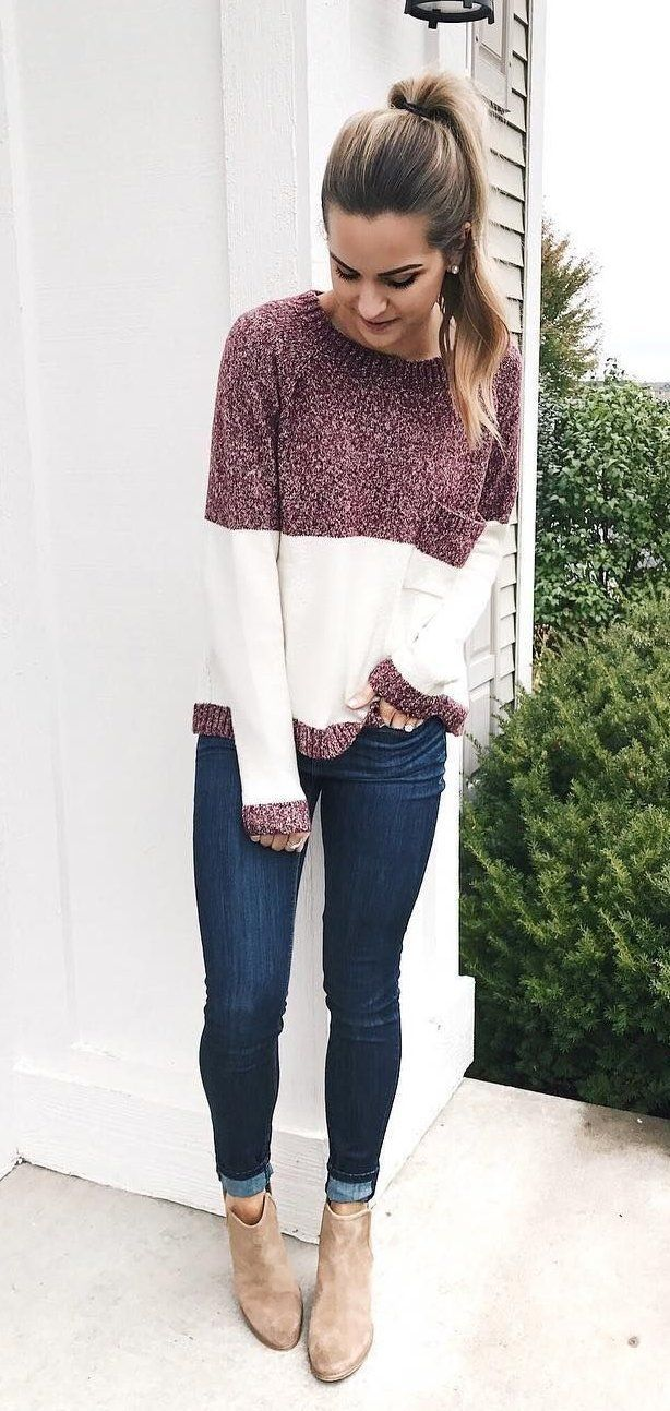 Sweater-and-jeans. 120+ Fashion Trends and Looks for College Students in 2021