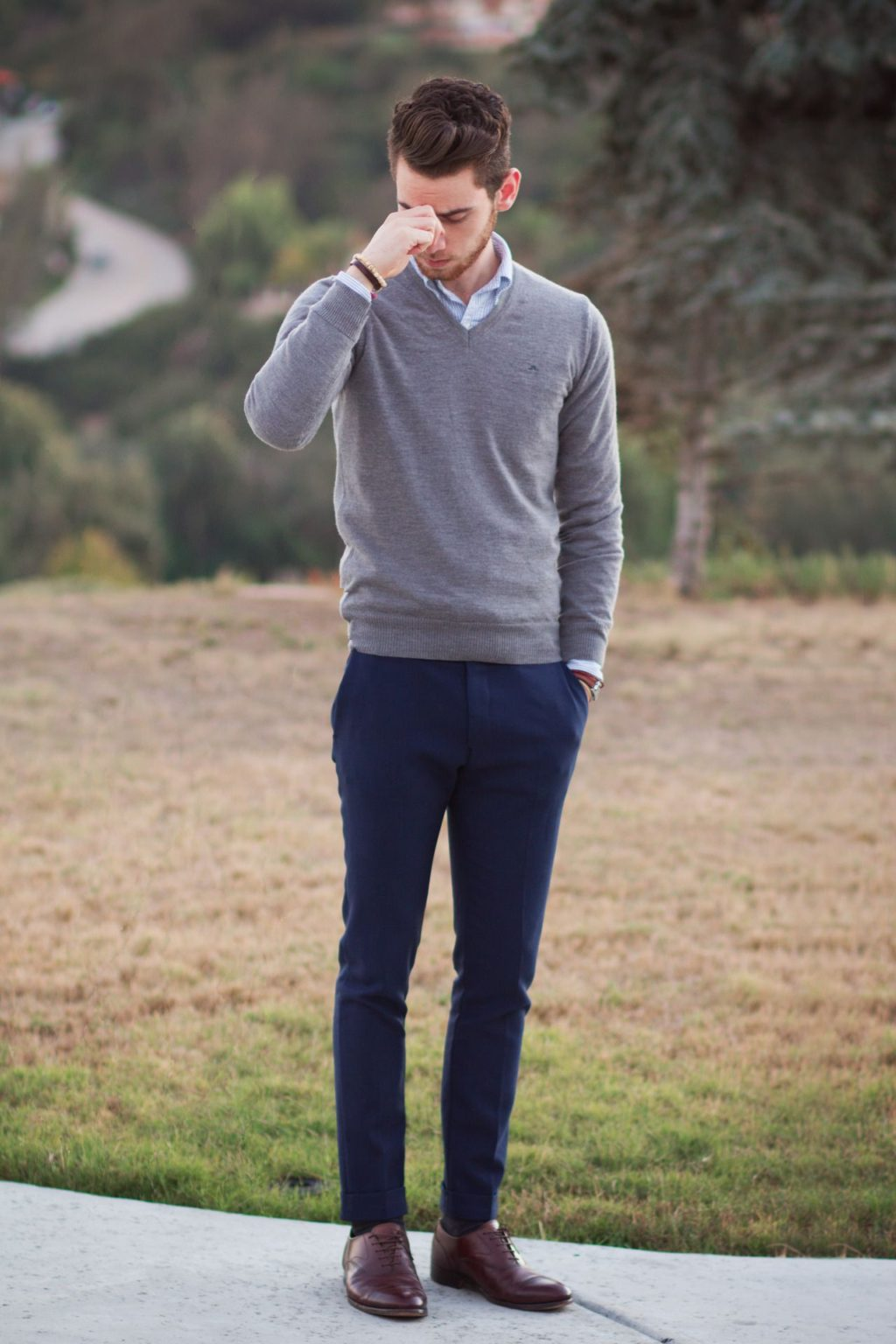 Sweater-and-long-sleeve-button-down..-1024x1536 120+ Fashion Trends and Looks for College Students in 2020/2021