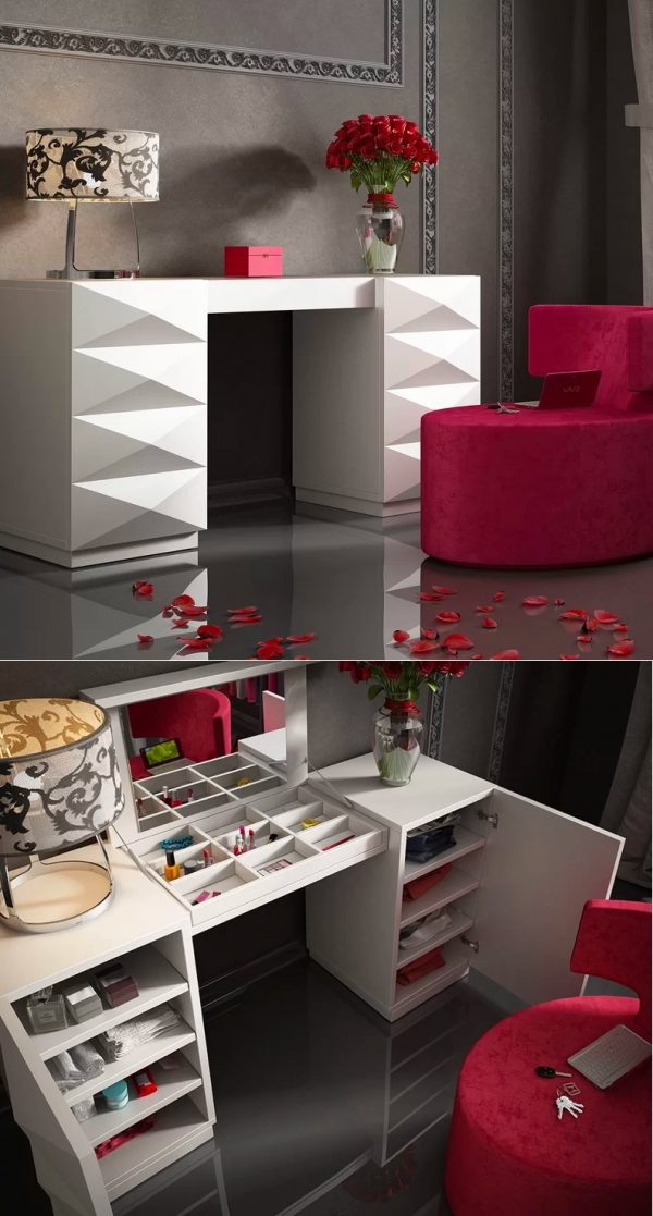 Table-with-multiple-storage-space-1 Hottest 50+ Stylish Makeup Vanity Ideas