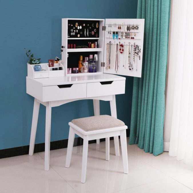 Table-with-multiple-storage-space-675x675 Hottest 50+ Stylish Makeup Vanity Ideas