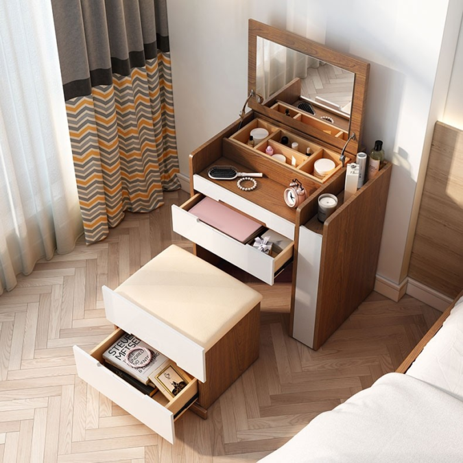 Table-with-multiple-storage-space.-675x675 Hottest 50+ Stylish Makeup Vanity Ideas