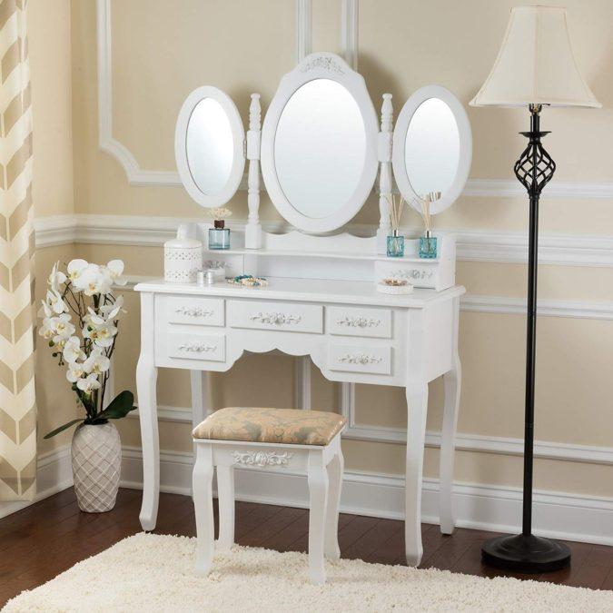 Three-mirror-vanity-675x675 Hottest 50+ Stylish Makeup Vanity Ideas
