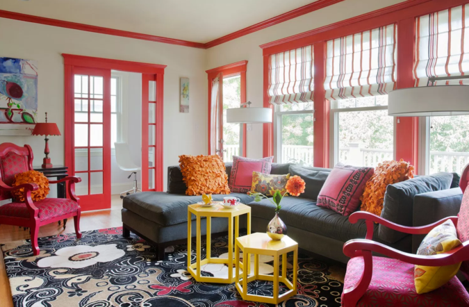 Vibrant-trim-living-room-675x442 70+ Hottest Colorful Living Room Decorating Ideas in 2021