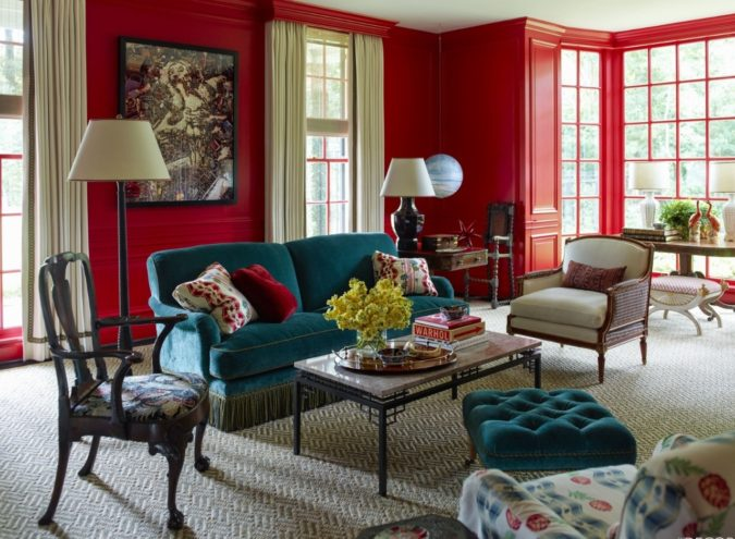 Vibrant-trim..-675x495 70+ Hottest Colorful Living Room Decorating Ideas in 2021