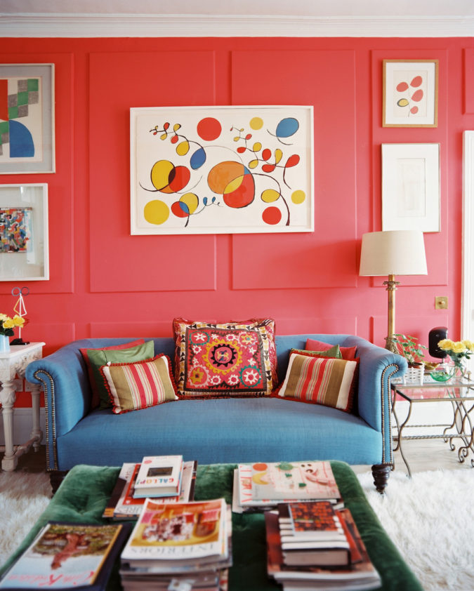 Vibrant-trim...-675x842 70+ Hottest Colorful Living Room Decorating Ideas in 2021